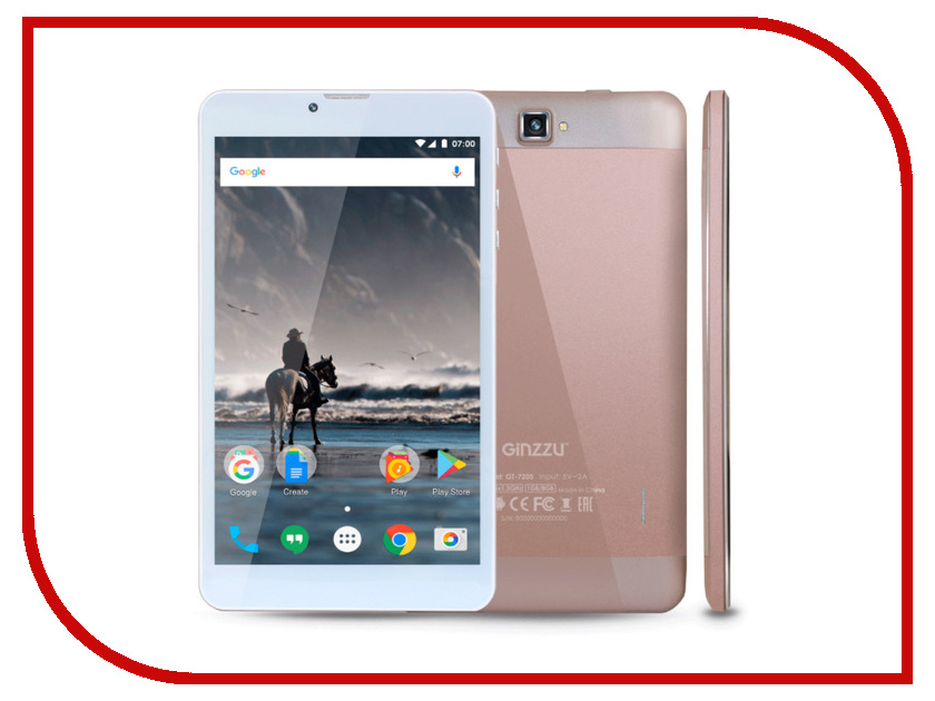 Планшет Ginzzu GT-7205 Rose Gold (Spreadtrum SC7731G 1.3 GHz/1024Mb/8Gb/GPS/3G/Wi-Fi/Bluetooth/Cam/7.0/1280x800/Android) планшет ginzzu gt 7110 black spreadtrum sc9832 1 3 ghz 1024mb 8gb gps lte 3g wi fi bluetooth cam 7 0 1280x800 android