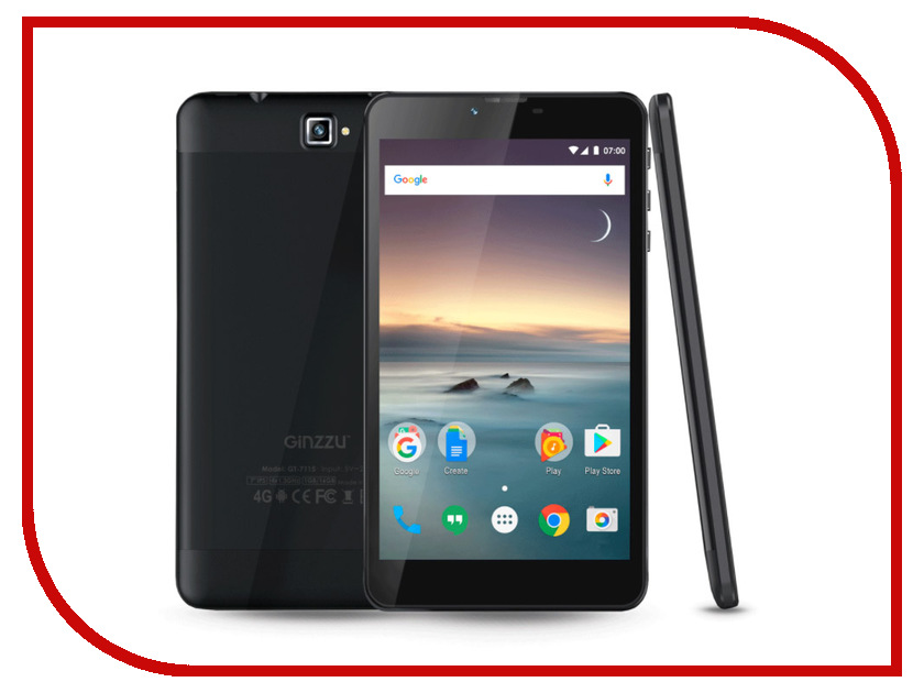 Планшет Ginzzu GT-7115 Black (Spreadtrum SC9832 1.3 GHz/1024Mb/16Gb/GPS/4G/Cam/7.0/1280x800/Android) планшет