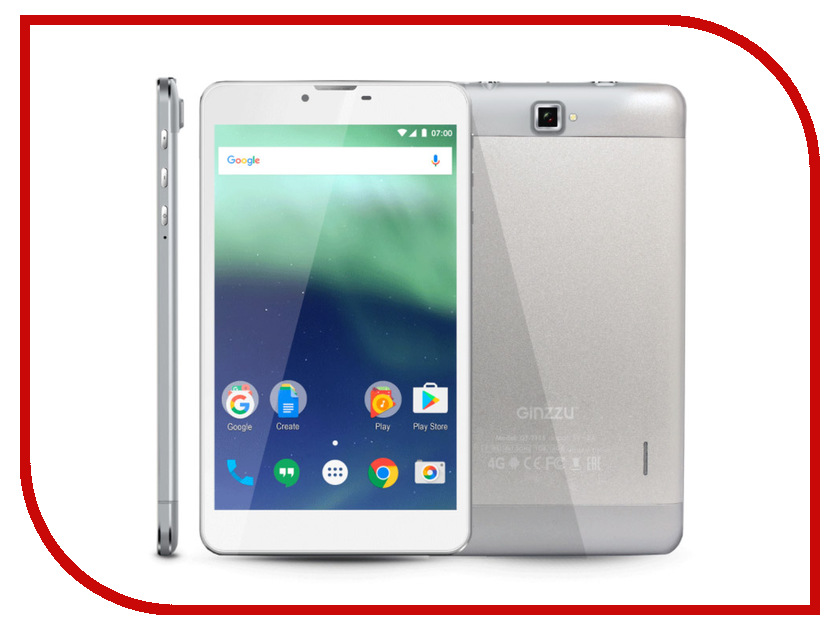 Планшет Ginzzu GT-7115 Silver (Spreadtrum SC9832 1.3 GHz/1024Mb/16Gb/GPS/4G/Cam/7.0/1280x800/Android) планшет ginzzu gt 1045 silver spreadtrum sc7731g 1 3 ghz 1024mb 8gb gps 3g wi fi bluetooth cam 10 1 1280x800 android