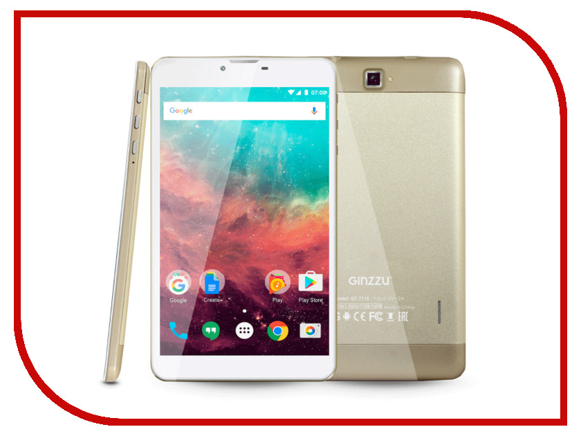 Планшет Ginzzu GT-7115 Gold (Spreadtrum SC9832 1.3 GHz/1024Mb/16Gb/GPS/4G/Cam/7.0/1280x800/Android) планшет ginzzu gt 1045 silver spreadtrum sc7731g 1 3 ghz 1024mb 8gb gps 3g wi fi bluetooth cam 10 1 1280x800 android