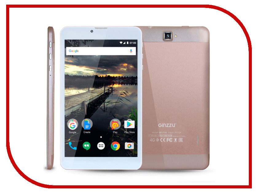 Планшет Ginzzu GT-7115 Rose Gold (Spreadtrum SC9832 1.3 GHz/1024Mb/16Gb/GPS/4G/Cam/7.0/1280x800/Android) планшет ginzzu gt 8010 rev 2 1gb 16gb 3g 4g android 6 0 синий [00 00000629]