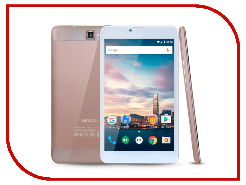 Планшет Ginzzu GT-7100 Rose Gold (Spreadtrum SC7731G 1.3 GHz/1024Mb/8Gb/GPS/3G/Wi-Fi/Bluetooth/Cam/7.0/1024x600/Android) планшет ginzzu gt 7110 black spreadtrum sc9832 1 3 ghz 1024mb 8gb gps lte 3g wi fi bluetooth cam 7 0 1280x800 android