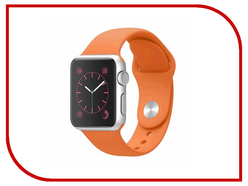 Аксессуар Ремешок APPLE Watch 42mm Activ Orange Sport Band 79553 20mm 22mm 24mm 26mm leather watch strap watch band man watch straps green orange beige with stainless steel silver buckle