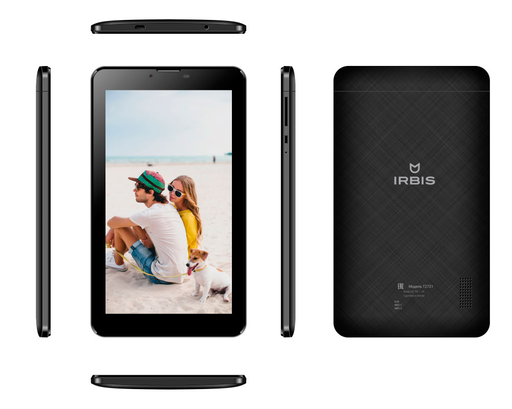 Планшет Irbis TZ721 Black (Spreadtrum SC7731 1.3 GHz/8Gb/1024Mb/Wi-Fi/3G/Bluetooth/Cam/GPS/7.0/1024x600/Android 6)