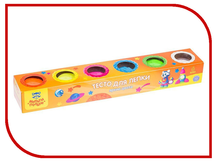 Набор для лепки Мульти-пульти Тесто для лепки Енот на Луне 6 цветов 90г ТЛ_13473 масса для лепки candy clay набор круассан