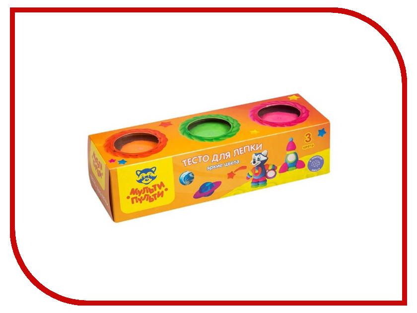 Набор для лепки Мульти-пульти Тесто для лепки Енот на Луне 3 цвета 90г ТЛ_16734 масса для лепки candy clay набор круассан