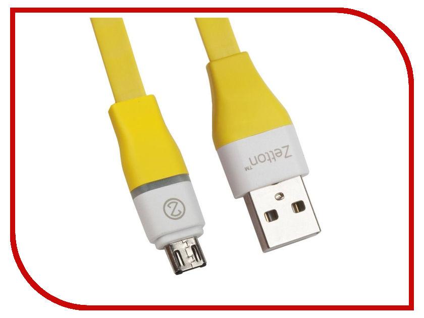 Аксессуар Zetton Flat USB - Micro USB Yellow 0L-00028725 аксессуар anker powerline micro usb 0 9m a8142ha1 grey 699928