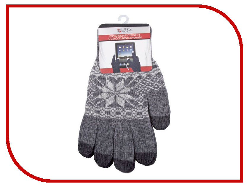 Теплые перчатки для сенсорных дисплеев Liberty Project Снежинка M Grey 0L-00000029 перчатки для сенсорных дисплеев liberty олени серые размер s