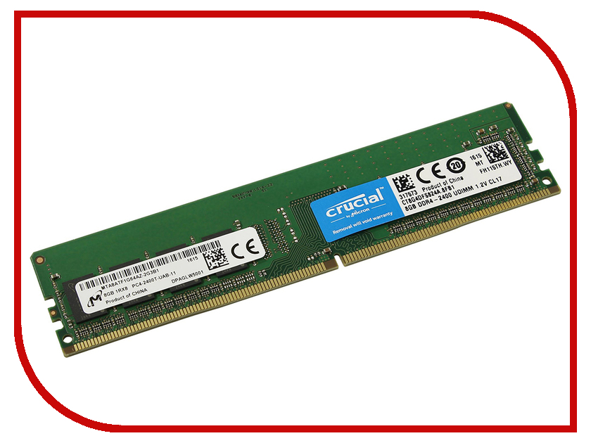 Модуль памяти Crucial DDR4 2400MHz PC4-19200 1.2V CL17 - 8Gb CT8G4DFS824A модуль памяти patriot memory ddr4 so dimm 2400mhz pc4 19200 cl17 4gb psd44g240041s