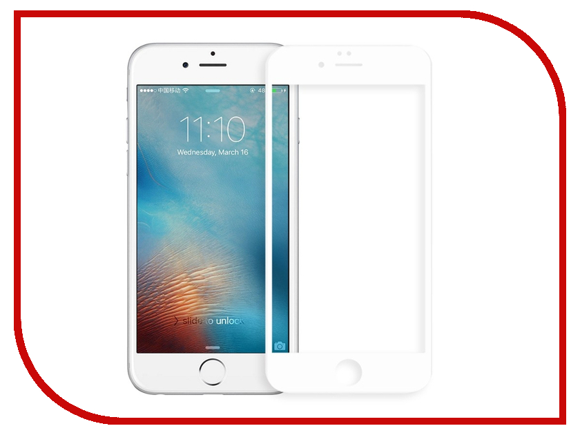 Аксессуар Защитное стекло Onext для APPLE iPhone 6/6S с рамкой White 41580 аксессуар защитное стекло onext для apple iphone 7 plus с рамкой black 41496
