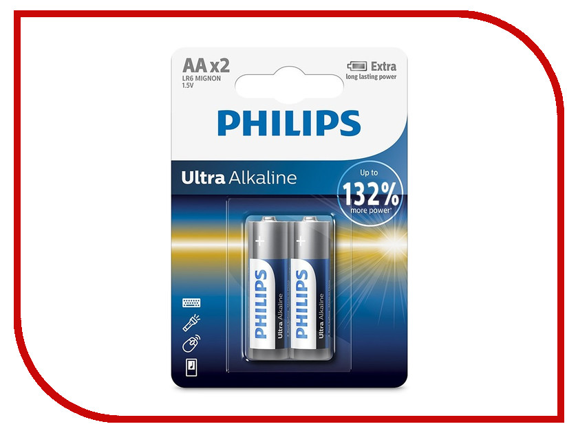 Батарейка AA Philips LR6E2B/10 Ultra (2 штуки) батарейка d panasonic zinc carbon r20rz 2bp r20 bl2 2 штуки