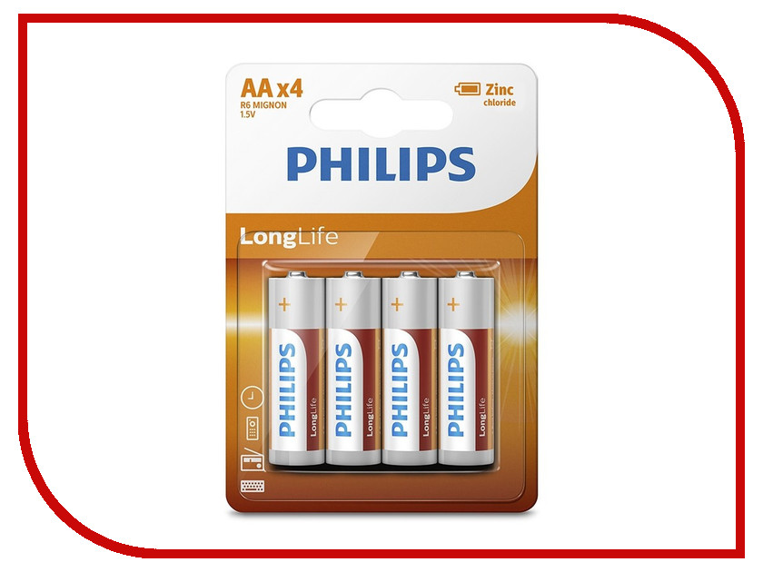 Батарейка AA Philips R6L4B/10 ( 4 штуки ) батарейки philips lr6p20t 10 aa 20шт
