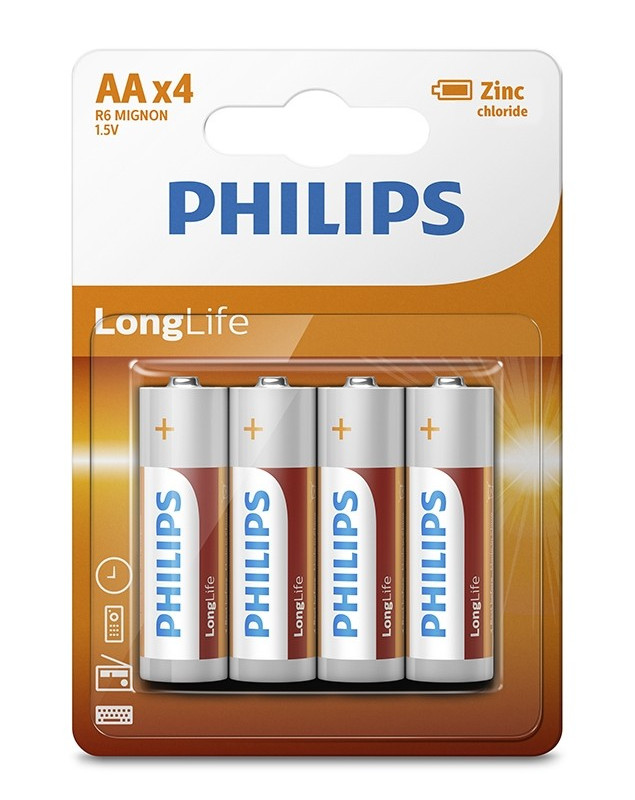 Батарейка AA Philips R6L4B/10 ( 4 штуки )