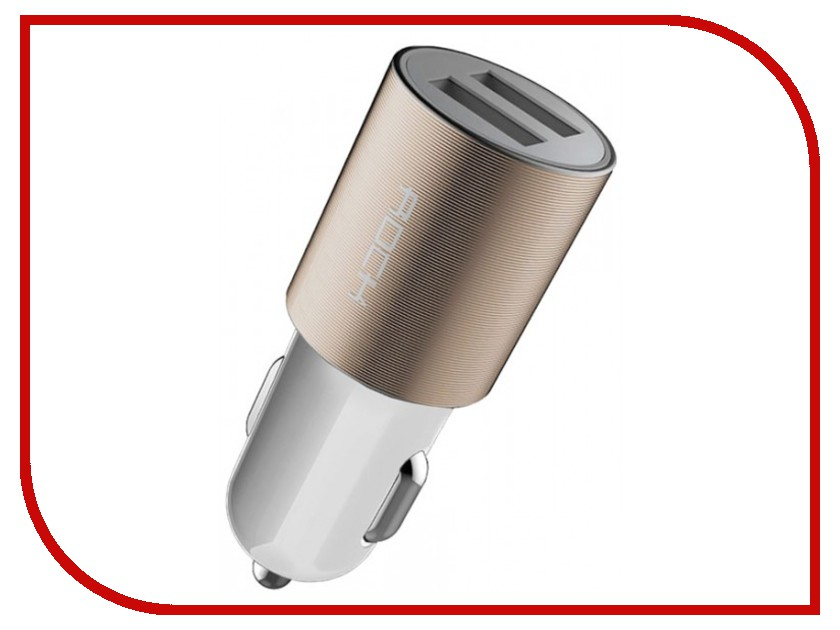 Зарядное устройство Rock Motor Car Charger 2xUSB 2.1A White-Gold rock muca car charger