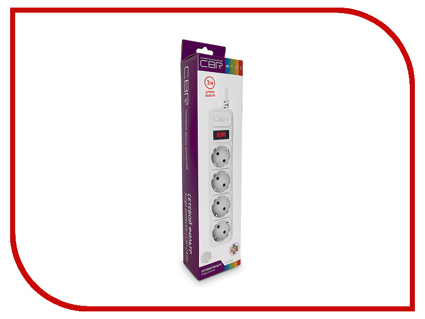Сетевой фильтр CBR 4 Sockets 3m CSF 2450-3.0 White CB сетевой фильтр proconnect 4 sockets 3m white 11 9524