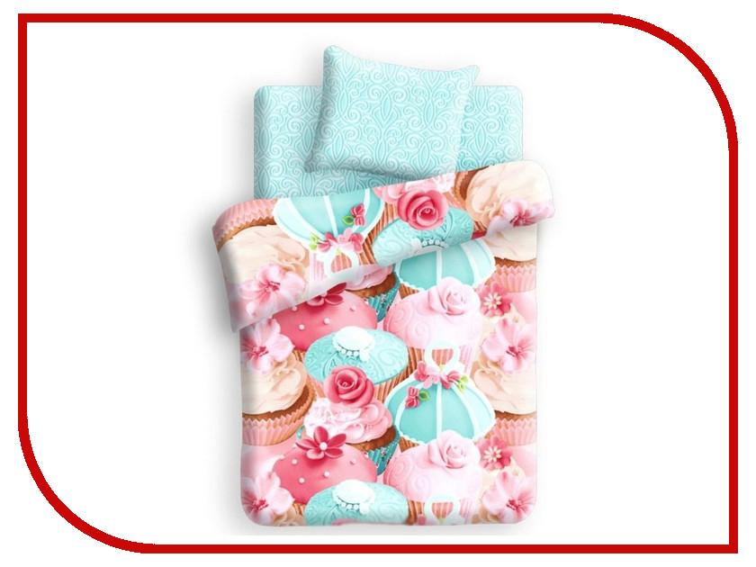 Постельное белье FOR YOU Капкейк 8669+8670 вид 1 Комплект 1.5 спальный Бязь
