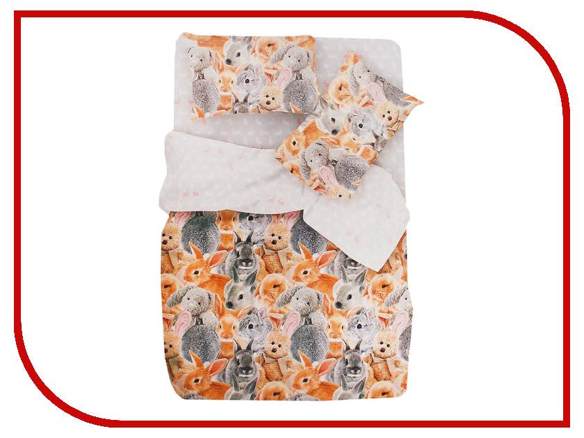 Постельное белье FOR YOU Ушастики 8757+8758 вид 1 Комплект 1.5 спальный Бязь