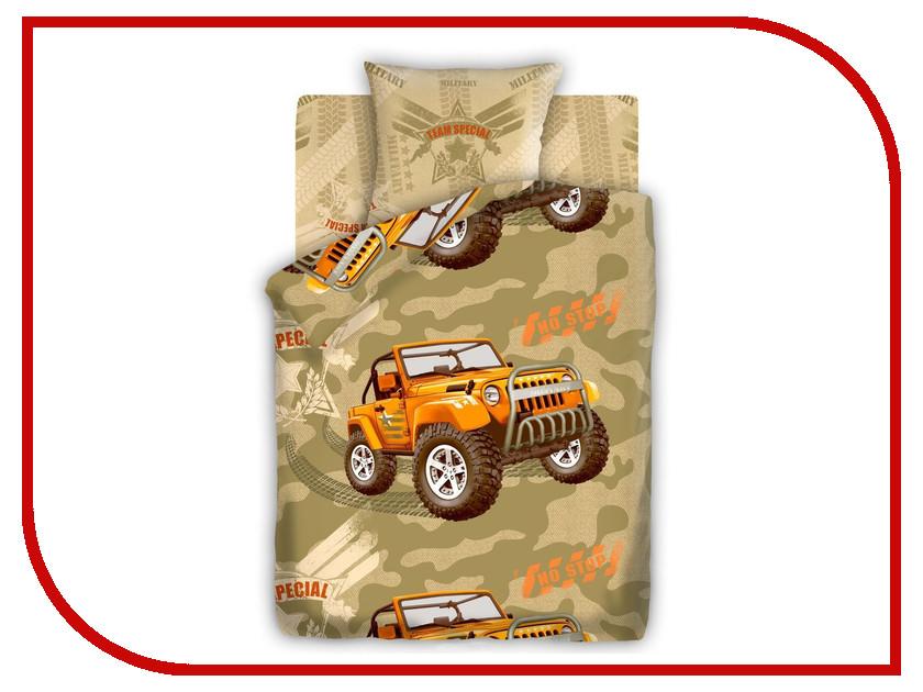 Постельное белье FOR YOU Армейский внедорожник 8548+8549 вид 1 Комплект 1.5 спальный Бязь