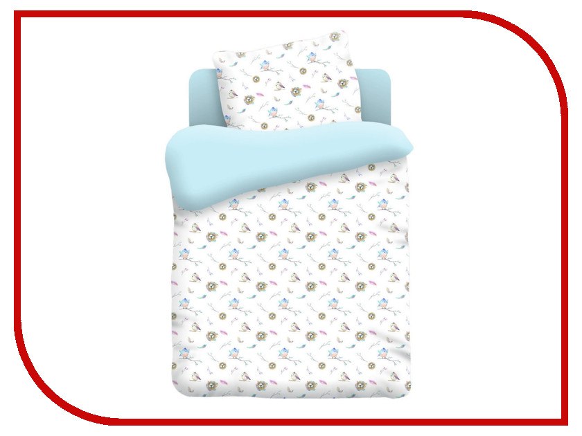 Постельное белье Непоседа Птенцы 8896-1 Комплект 1.5 спальный Поплин Light Blue непоседа комплект дорога 1 5 спальный союзмультфильм непоседа