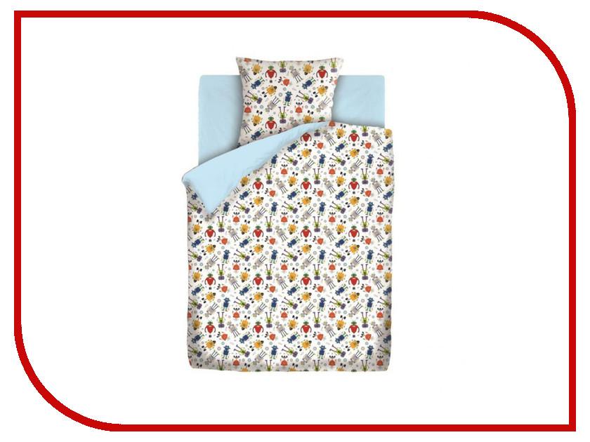 Постельное белье Непоседа Роботы 8941-1 Комплект 1.5 спальный Бязь Light Blue непоседа постельное белье ёжики 3 пред бязь непоседа