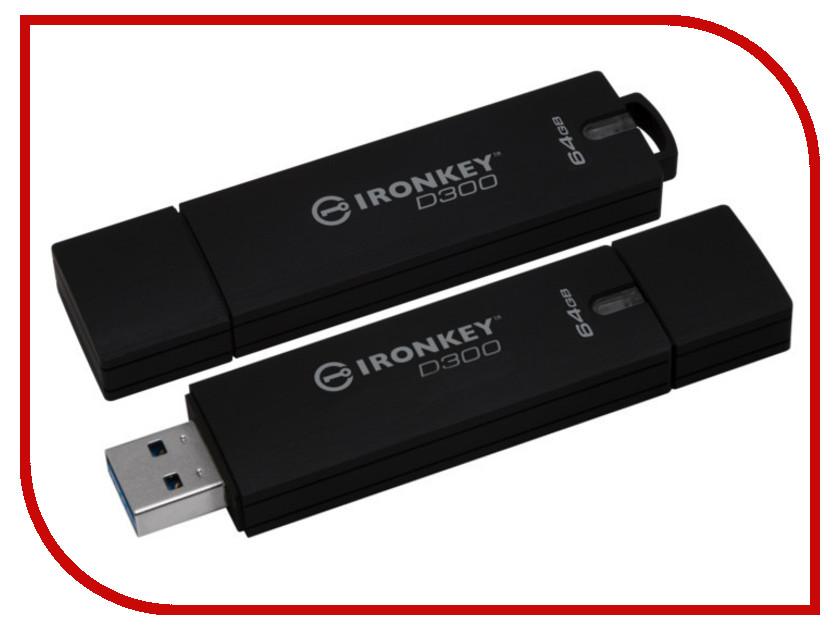 USB Flash Drive 64Gb - Kingston Iron Key EMS IKD300 USB 3.0 IKD300M/64GB dhl ems key ence kv c64xa kvc64xa input module a1