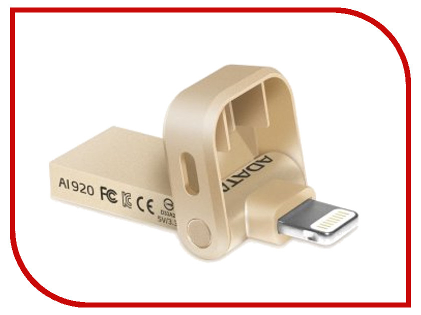 USB Flash Drive 64Gb A-Data i-Memory AI920 Lightning to USB 3.1 Gold AAI920-64G-CGD