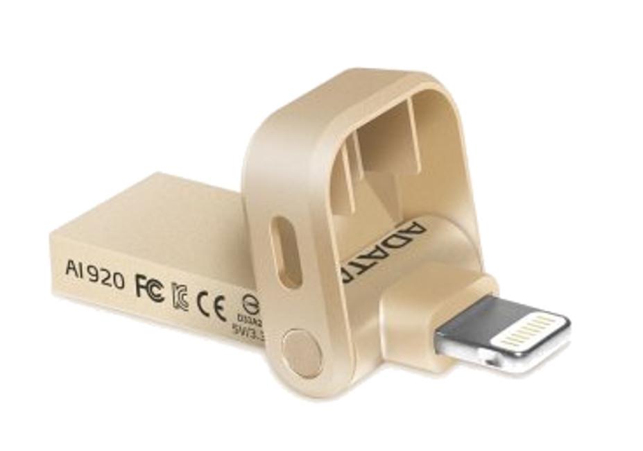 USB Flash Drive 64Gb A-Data i-Memory AI920 Lightning to USB 3.1 Gold AAI920-64G-CGD флешка usb 64gb a data i memory ai920 usb 3 1 lightning aai920 64g crg розовое золото