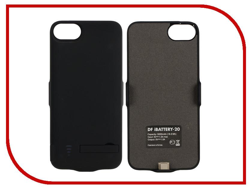 Аксессуар Чехол-аккумулятор DF iBattery-20 для APPLE iPhone 6 / 6S / 7 / 8 5000mAh Black чехол аккумулятор df ibattery 14s для iphone 6 6s 7 розовое золото