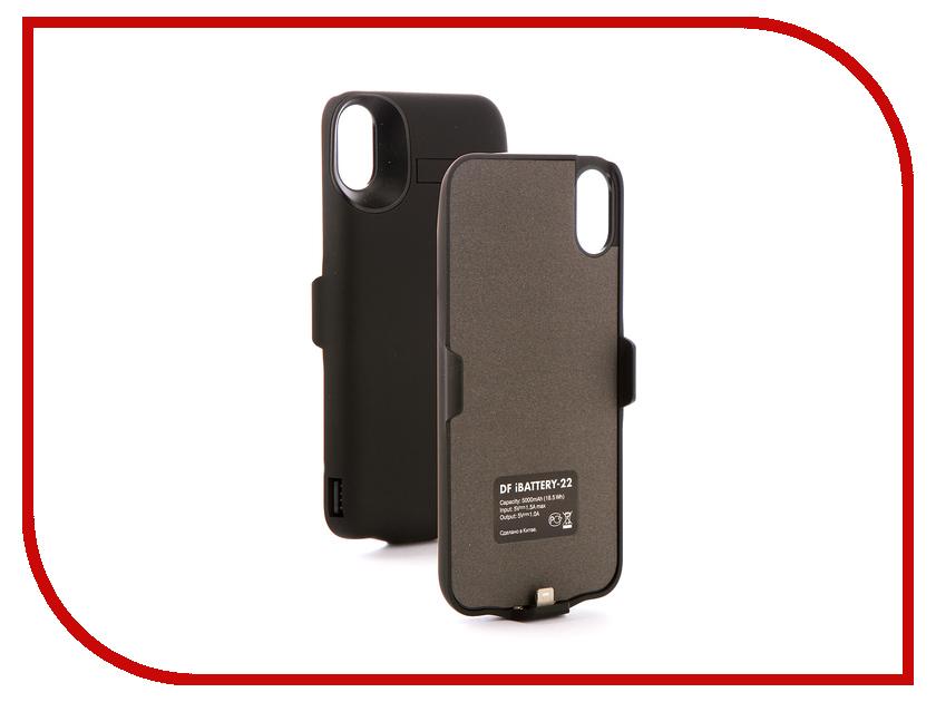 Аксессуар Чехол-аккумулятор DF iBattery-22 для APPLE iPhone X 5000mAh Black чехол аккумулятор df ibattery 14s для iphone 6 6s 7 розовое золото