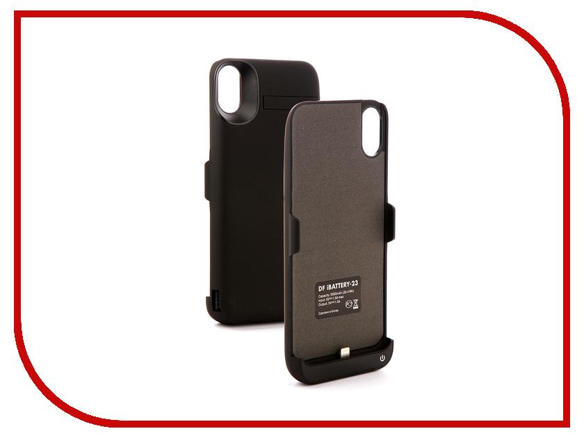 Аксессуар Чехол-аккумулятор для APPLE iPhone X DF iBattery-23 5500mAh Black аксессуар чехол аккумулятор df ibattery 20 для apple iphone 6 6s 7 8 5000mah black