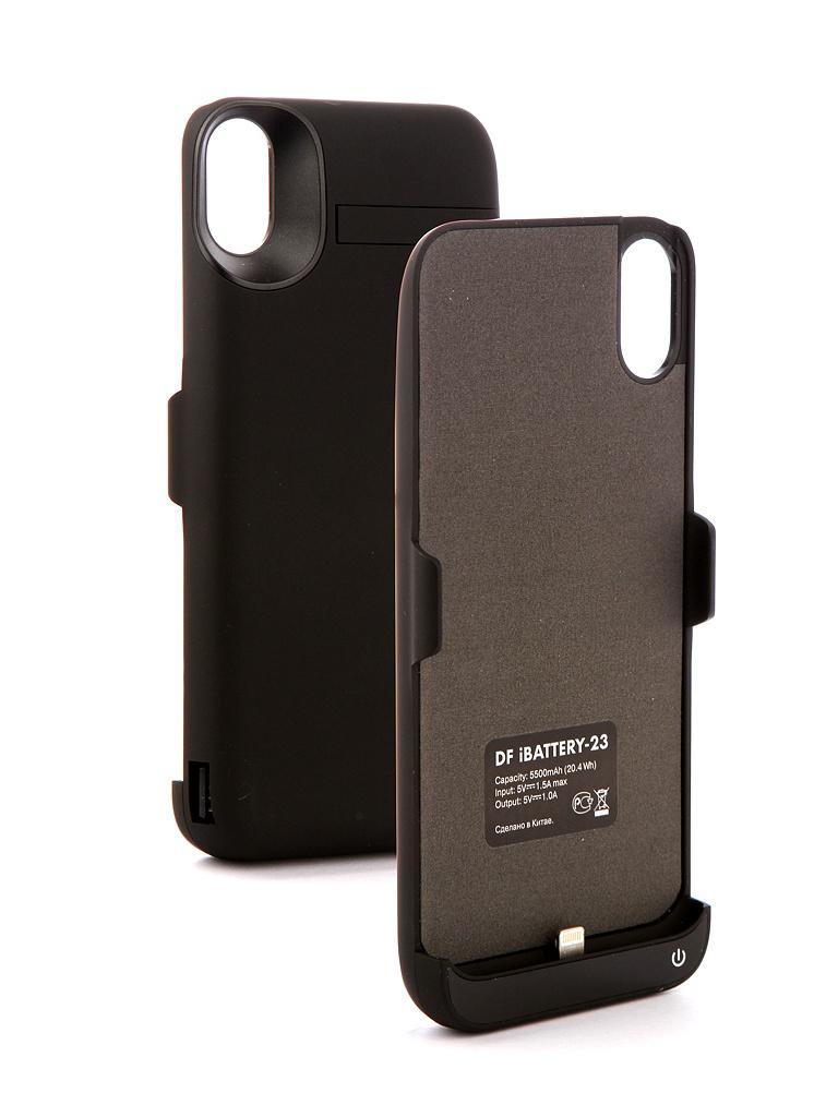 Аксессуар Чехол-аккумулятор DF для APPLE iPhone X iBattery-23 5500mAh Black