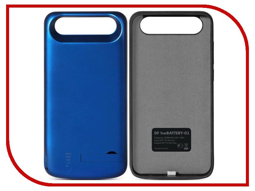 Аксессуар Чехол-аккумулятор для Huawei Honor 9 DF hwBattery-01 6500mAh Blue аккумулятор df pro 01 16000 mah
