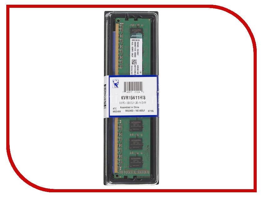 Модуль памяти Kingston DDR3 DIMM 1600MHz PC3-12800 CL11 - 8Gb KVR16N11H/8 модуль памяти hp 16gb 2rx4 pc3 12800r 11 kit 672631 b21