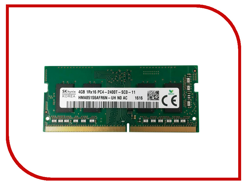 Модуль памяти Hynix DDR4 SO-DIMM 2400MHz PC4 -19200 CL17 - 4Gb HMA851S6AFR6N-UHN0 модуль памяти patriot memory ddr4 so dimm 2400mhz pc4 19200 cl17 4gb psd44g240041s