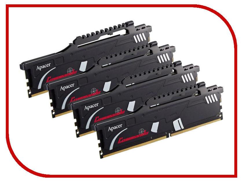 Модуль памяти Apacer Commando DIMM DDR4 2400MHz PC4-19200 CL16 - 32Gb KIT (4x8Gb) EK.32GAT.GEAK4 все цены