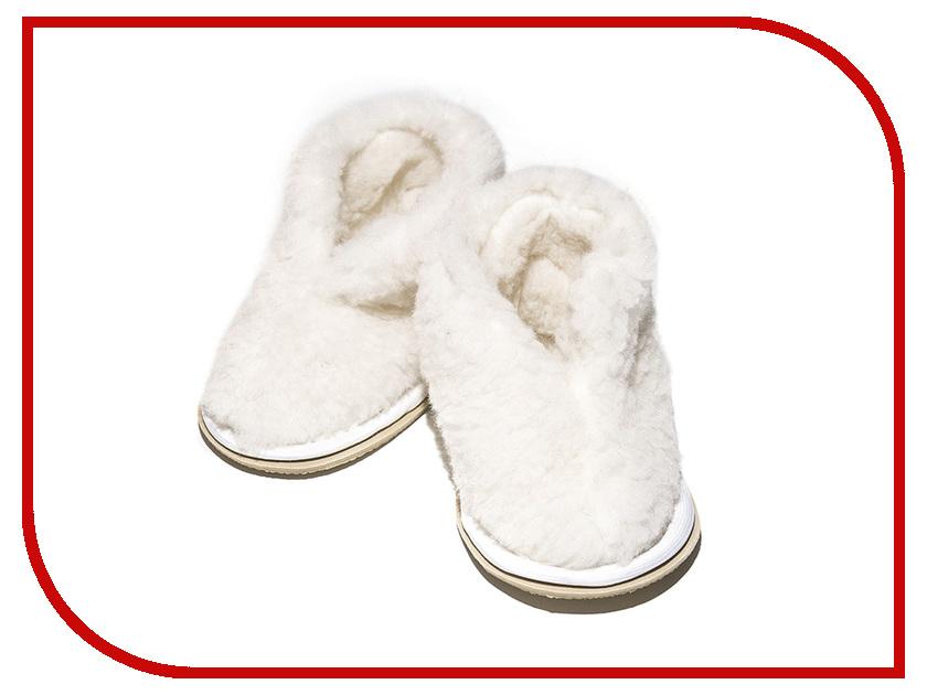 Фото Тапочки Smart Textile Бабуши из овечьего меха детские Н522 размер 27-28 White