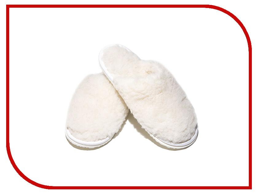 Тапочки Smart Textile Домашнее Тепло из овечьего меха Н520 размер 38-39 White тапки из овечьего меха домашнее тепло р 35 бежевые