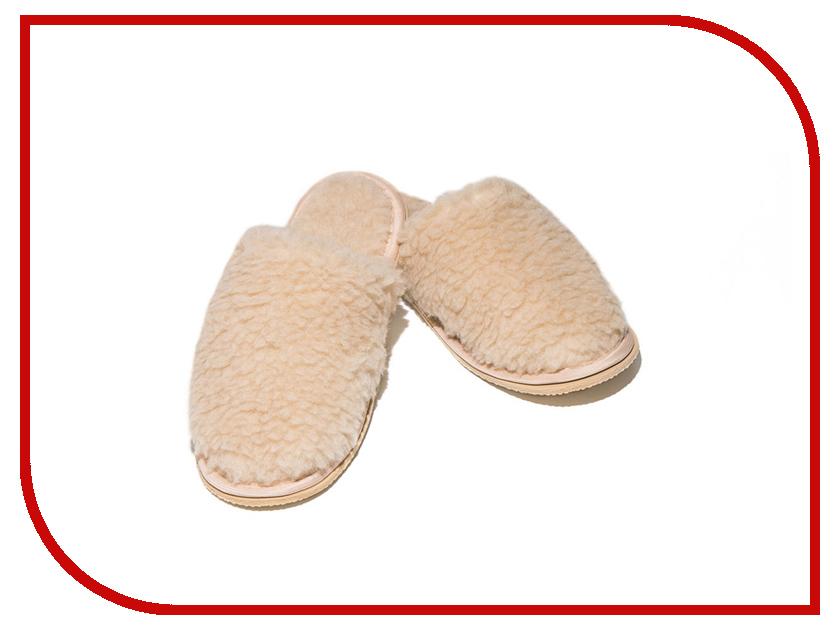 Тапочки Smart Textile Домашнее Тепло из овечьего меха Н520 размер 40-41 Beige тапки из овечьего меха домашнее тепло р 35 бежевые