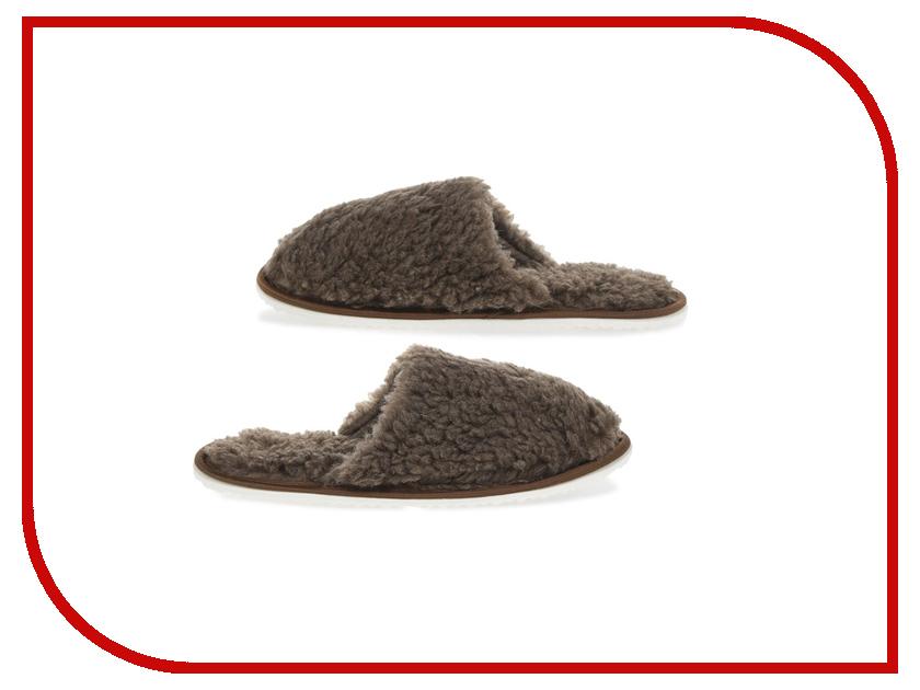 Тапочки Smart Textile Домашнее Тепло из овечьего меха Н520 размер 42-43 Brown тапки из овечьего меха домашнее тепло р 35 бежевые