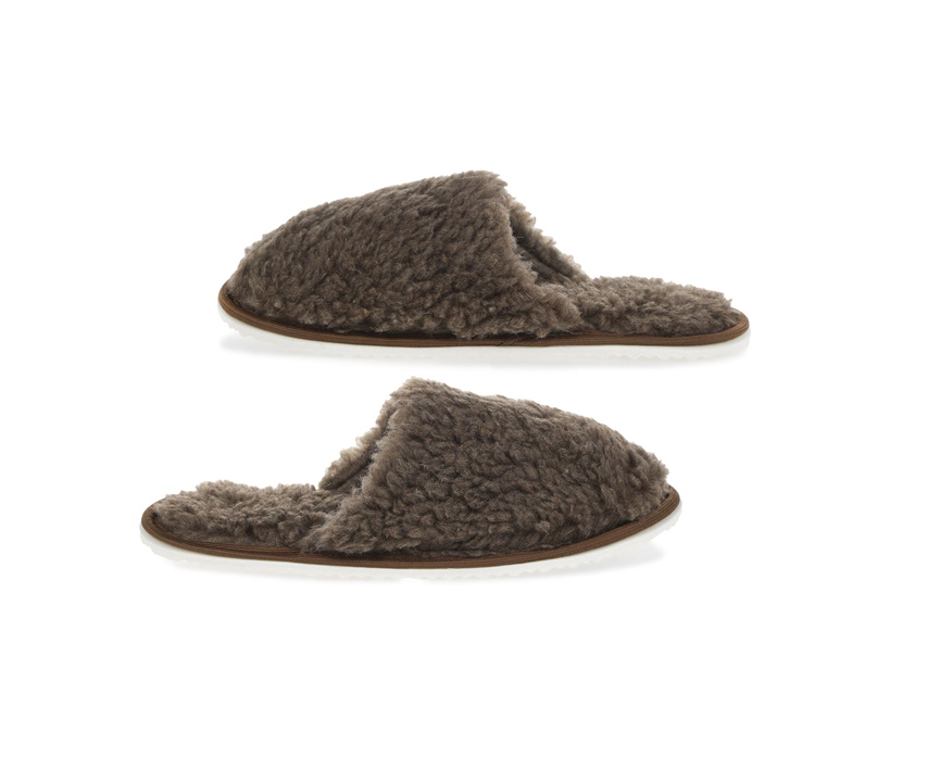 Тапочки Smart Textile Домашнее Тепло из овечьего меха Н520 размер 44-45 Brown