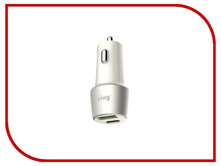 Зарядное устройство Ainy USB+Type-C Quick Charge 3.0 White EB-043B зарядное устройство ainy 2xusb 1a 2 4a eb 018a black