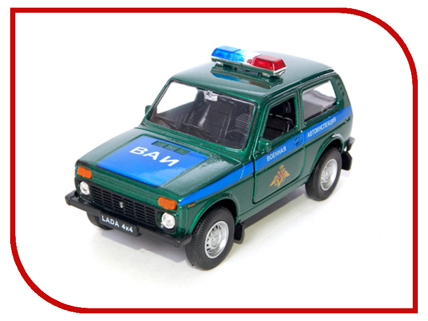 Машина Welly LADA 4x4 Военная Автоиснпекция 42386MC машина welly lada vesta такси 43727ti