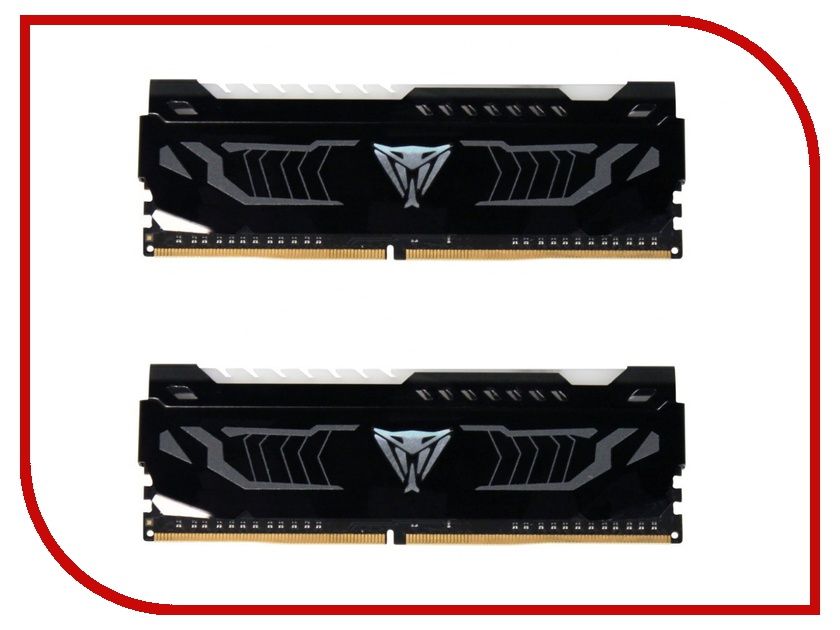 Модуль памяти Patriot Memory Viper LED DDR4 DIMM 3200Mhz PC4-25600 CL16 - 16Gb KIT (2x8Gb) PVLW416G320C6K модуль памяти patriot memory viper ddr4 dimm 2666mhz pc4 21300 16gb kit 2x8gb pv416g266c5k red