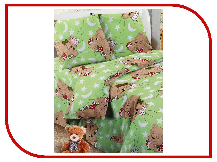 Постельное белье Алмакс Kids Веселый мишка Комплект 1.5 спальный Бязь Green 2276784 постельное белье kids comfort постельное белье