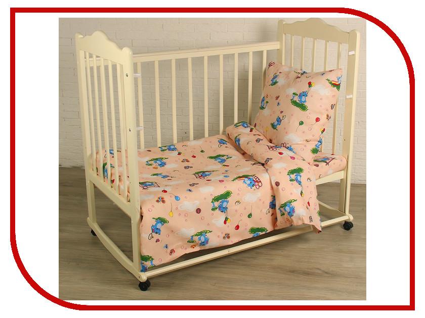 Комплект Атра Baby Слоники 112x147/110x150/60x60 Бязь Peach 2369753