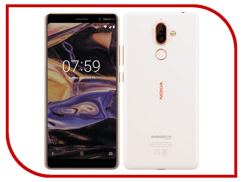 Сотовый телефон Nokia 7 Plus White-Copper remax protective silicone back case w screen protector film for nokia lumia 820 translucent white