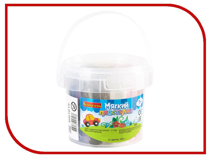 Набор для лепки Bondibon Пластилин 12 цветов 200гр в ведре BK-200-12 / ВВ1815