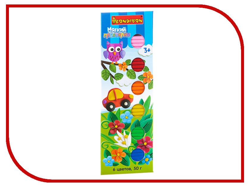 Набор для лепки Bondibon Пластилин 6 цветов 50гр SFT-50-6 / ВВ1813