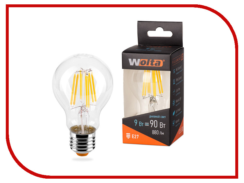 Лампочка Wolta LED A60/9W/4000K/E27 25S60BLFT9E27 лампочка luazon e27 9w 4200к al 1489121