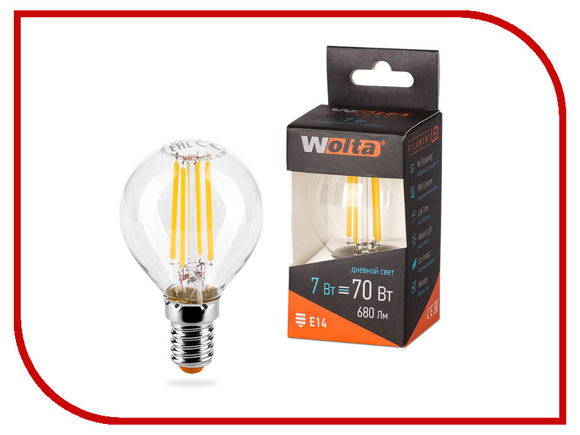 Лампочка Wolta LED G45/7W/4000K/E14 25S45GLFT7E14 s 25